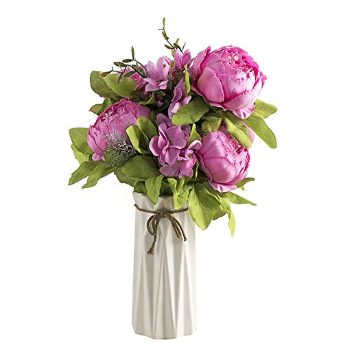 Uworld Artificial Flowers Real Looking Fake Peony for Party,DIY Wedding  Bouquets Home Centerpieces(Rich Pink)