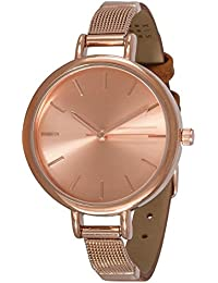 """SIX """"Geschenk"""" besondere rosegoldene Damen Uhr mit zweigeteiltem schmalen Armband aus braunem Kunstleder mit rosé-goldenen Metall (274-316)"""