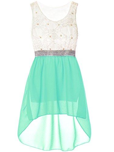 Mädchen Kinder Sommer-Kleid Spitze Glitzer Kurzarm Kunst-Perlen 22286, Farbe:Türkis, Größe:104