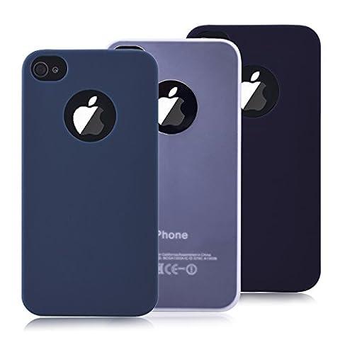 3 x Coque iPhone 4 / 4s, Yokata Solide Mat Anti-Fingerprint Case Housse Étui Soft Doux TPU Silicone Flexible Backcover Ultra Mince Coque - Noir + Bleu Marine + Blanc