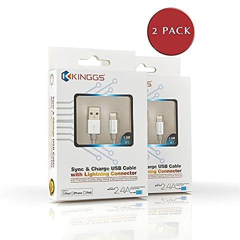 [certifié Apple MFi] Kinggs® Premium 1,5m/1.5m Extra long en nylon tressé C48d'éclairage 8broches vers USB de synchronisation de données et câble de charge avec boîtier en aluminium–Convient pour iPhone 6S/6/6S Plus/6plus/5S/5C/5, iPad Pro/Air 2, iPad mini/4/3/2, iPod 5ème/Nano 7e génération–2,4A–Garantie