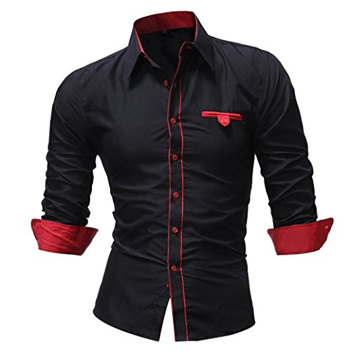 SEWORLD 2018 Herren Herbst Winter Hemd Einfarbig Slim Beiläufige Langarmhemd T-Shirt Oberteil Oktoberfest ()