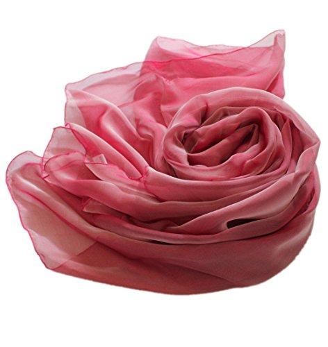 Prettystern Prettystern - 200cm X 65cm zweifarbige changierend Seidentaft langer Seidenschal - 1. Rosa Rot