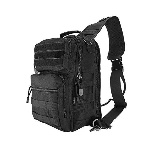 ProCase Zaino Tattico Sling Bag, Zaino da Spalla Militare Rover Sling Outdoor Sport Daypack per la Caccia, il Trekking e il Campeggio -Nero