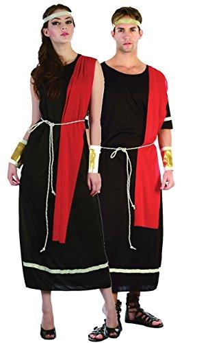 Fancy-Me Damen und Herren Kostüm Toga römischer griechischer Caesar Göttin Göttin historisches Kostüm, Schwarz (Damen EU 38-40 & Herren Standard)