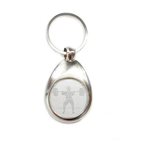 Familienkalender Gewichtheber Motiv Schlüsselanhänger mit Einkaufswagenchip Gewichtheben Kraftsport elegant Silber glänzend Chip