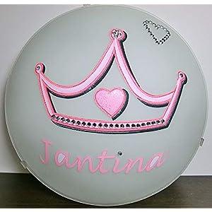 Deckenleuchte/Wandlampe * KRONE rosa Prinzessin Herz Strass * auch LED - mit/ohne Name