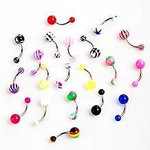 TOOGOO (R) 20pcs coloridas bolas y barra de acero inoxidable curvada ombligo anillos de ombligo perforacion
