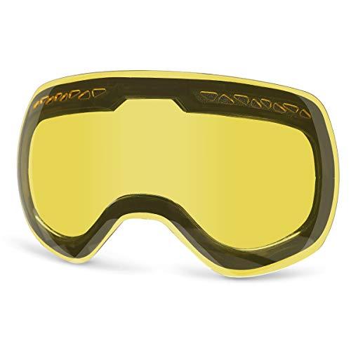 Supertrip Skibrille Damen Herren Snowboardbrille Ski-Schutzbrillen 100% UV400 Schutz für Brillenträger Antifog (Gelb (Nur Objektiv, VLT 83%))