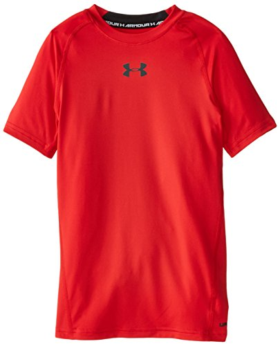 Under Armour Boys' HeatGear Armour Short Sleeve Fitted Shirt, Red/Black, Youth Small