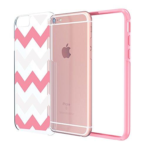 iPhone 66S Plus Case 5.5, Etui True Color® étroit/Classic/Largeur Chevron Waves Imprimé sur libre transparent Hybrid–Couverture Hard + Soft slim mince haltbaren Protection en caoutchouc TPU stoßab Wide Chevron Pink