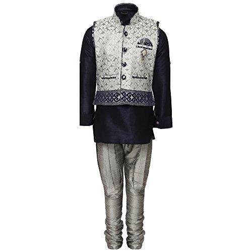 AJ Dezines Kids Kurta Pyjama Waistcoat Set for Boys(636_NAVY_GREY_7)