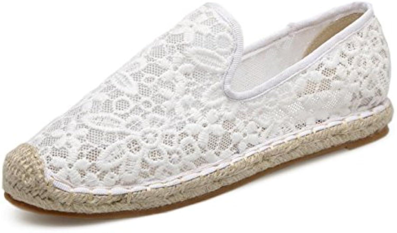 Sandalias para Mujer Paja Retro Sandalias Verano Pescador Neto Tacones Planos Zapatos para Damas Estudiantes