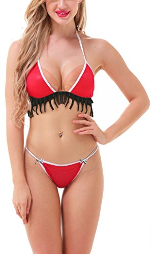 Madaam D Naked (DNLingerie-Jan18-04) Red Hot Sexy Lacy Honeymoon Bikini Nightwear Lingerie Women Bra & Panty Set (Red, Free Size)  available at amazon for Rs.249
