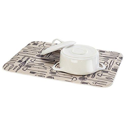 mDesign tapis évier drainant pour verres, assiettes et casseroles extra grandes ? tapis de séchage ? séchage rapide et facile d'entretien ? tapis vaisselle avec motif graphique ? beige/ivoire