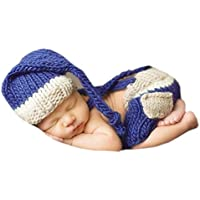 DELEY Bebé Recién nacido Fotografía Props Bebé Crochet Tejer Disfraz de  Elfo Trajes Gorro de Pantalones 94dec39a2ec