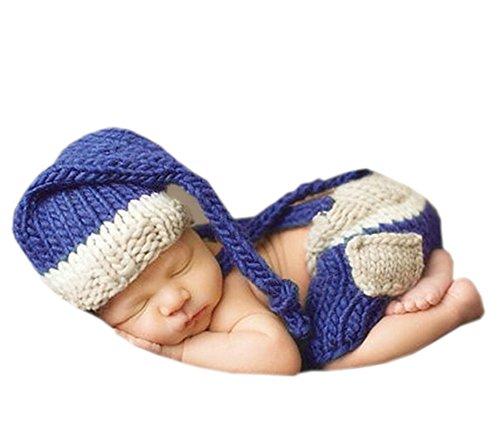 DELEY Neugeborene Baby Fotografie Requisiten Baby Häkelarbeit Knit Kostüm Elfen Outfits Mütze Hose Set 0-6 (Neugeborenen Elfen Kostüme)