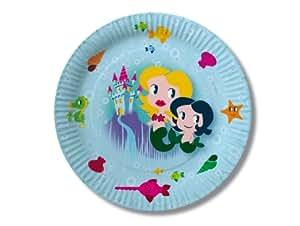 8 Teller * Meerjungfrau * für Kindergeburtstag von DH-Konzept // PT00043 // Pappteller Kinder Geburtstag Party Mädchen Nixe Arielle Mermaid