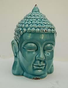 Bleu Turquoise Tête de Bouddha-Effet Craquelé - 18 cm