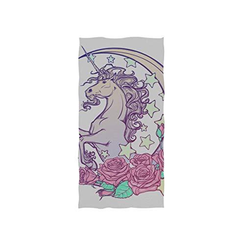 Kawaii Nette Einhorn Mond Weiche Spa Strand Badetuch Fingertip Handtuch Waschlappen Für Baby Erwachsene Bad Strand Dusche Wrap Hotel Reise Gym Sport 30x15 Zoll