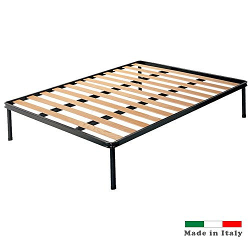 dormiland - Slatted Double Bed 160 x 190 Network with Feet Frame Made entirely from Iron