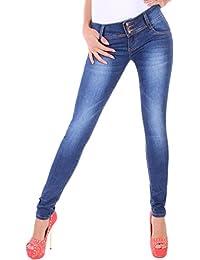 BD Damen Röhrenjeans in blau Damenjeans Stretch Hüftjeans mit Waschung