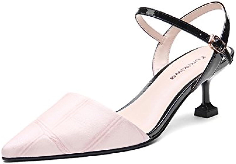 Leder-schaffell Wies SandalenStiletto HeelsBaotou Bonbonfarbenen Sandalen-rosa Fuge=22.3CM(8.8Inch)