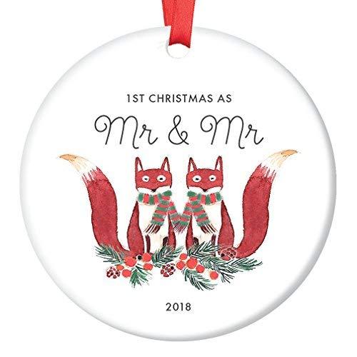 qidushop Deko-Figur für Heirat, Halloween, Fuchs, Geschenk für verheiratete Männer, erstes Weihnachten, ALS Mr. und Mr süße Waldfüchse, Weihnachtsbaum, Dekoration für Weihnachtsbaum (Mr Halloween Mann)
