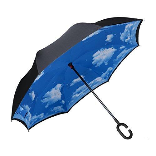 Bagail - Paraguas de doble capa, diseño invertido, reversible, con protección contra rayos UV