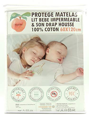 Peachskin Protège matelas/alèse-60x120cm-Lit bébé + Drap Housse 100% Coton Imperméable-OEKOTEX-Respirant-Antibactérien-Antiacarien-Coton éponge