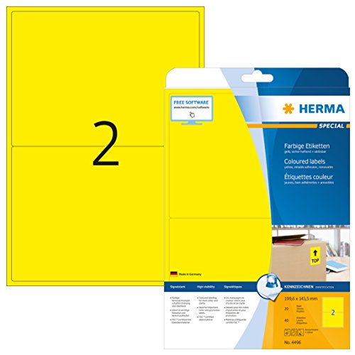 Herma 4496 Farbetiketten ablösbar, gelb (199,6 x 143,5 mm) 40 Aufkleber, 20 Blatt DIN A4 Papier matt, bedruckbar, selbstklebend