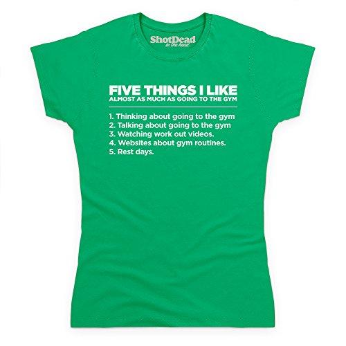 Five Things I Like - The Gym T-Shirt Funny Novelty Gift, Damen Keltisch-Grn