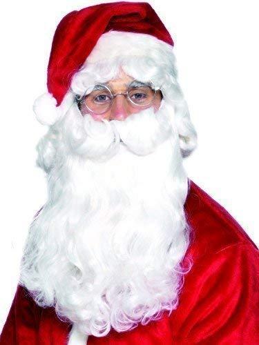 Herren Deluxe Weihnachtsmann weiß Bart Santa Weihnachten Gesichtsbehaarung festlich Kostüm Kleid Outfit - Weiß, One Size, One Size