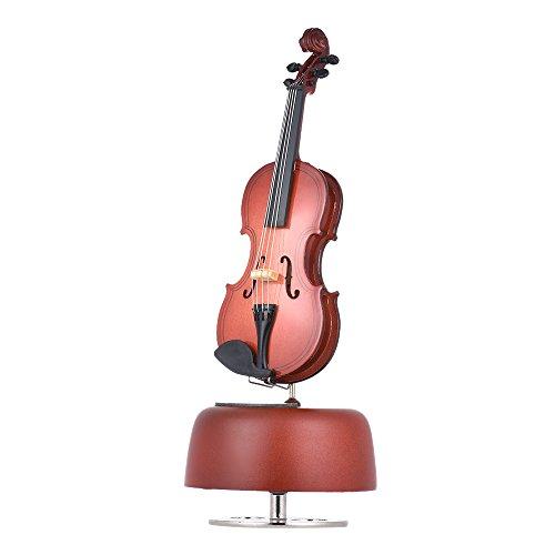 ammoon Clásico Violación de Violín Caja de Música Con Rotación Base Musical Instrument Miniature Regalo de Artware de la Reproducción