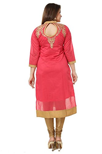Dream & Dzire Women's Banarasi Chanderi Pink Straight Kurti for All Plus...