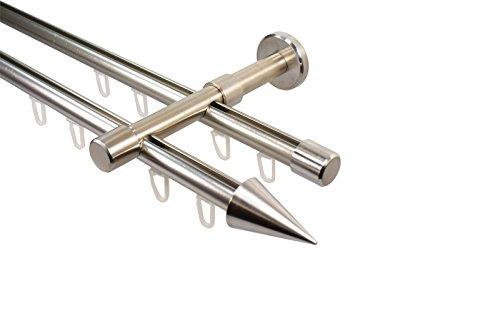 Edelstahl Optik Innenlauf Gardinenstange 2-läufig 16 mm mit Endstück Spitze, 240 cm (2 x 120 cm)