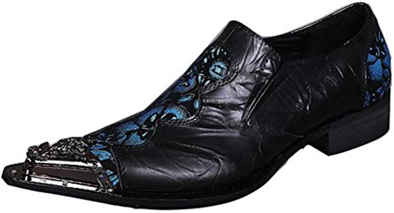 Zapatos de hombre Metálico Texturado Resplandecer Metal Puntiagudo Rock Cuero occidental Moda Mocasines y Slip-On...