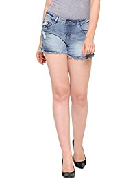 MansiCollections Blue Frayed Denim Shorts for Women