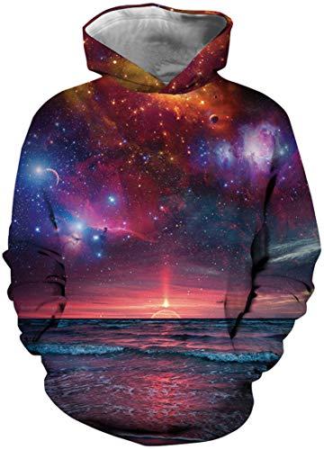 7 Sweatshirt (EUDOLAH Mädchen 3D Druck Sweatshirts für 4-13 Alter Langarm Herbst Winter Mehrfarbig Bunt Hemd mit Kaputzen Warm A-Sonnenuntergang L)