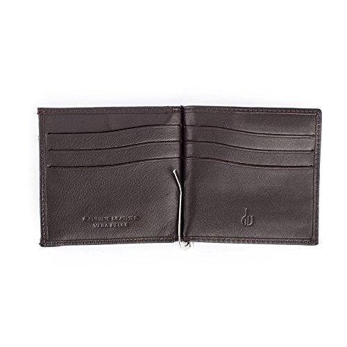 Portafoglio con fermasoldi da uomo in vera pelle portamonete e carte di credito DV Marrone scuro