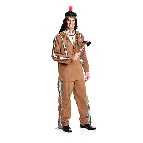 Kostümplanet® Indianerkostüm Herren Indianer-Kostüm Herrenkostüm XL Karnevalskostüm 56-58 (Lustige Western Motto Kostüm)