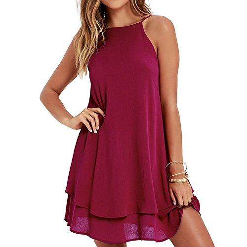 BestJuly Womens Swing Backless Loose Solid Colour Chiffon Summer Spaghetti Strap Beach Dress