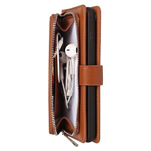 iPhone 6s Plus Hülle, iPhone 6 Plus Hülle, Vandot Echt Leder Multifunktions Zipper Geldbörse Schutzhülle für iPhone 6s Plus / 6 Plus Ledertasche Lederhülle Genuine Leather Abnehmbar Detachable Reißver Chain Braun