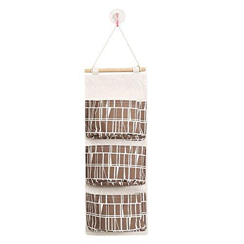Aikesi portaoggetti da appendere con 3 tasche portatutto da porta e parete in cotone e lino sacche portaoggetti per animali di peluche cellulari chiavi e più