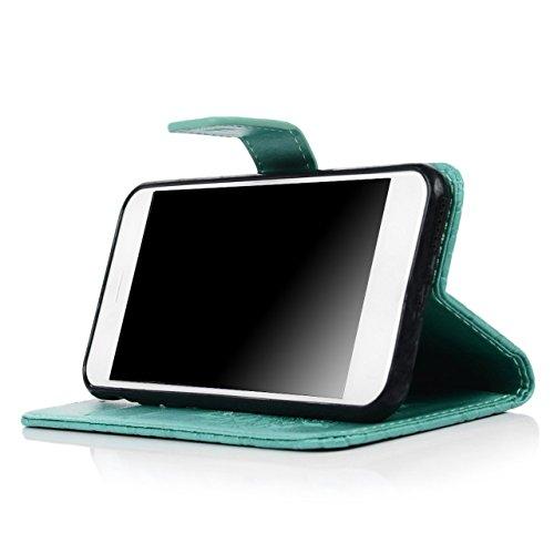 iPhone 7 4.7 Pouces Coque, Vandot 3 en 1 PU Cuir Flip Magnétique Portefeuille Etui pour iPhone 7 Mandala Pattern Gaufré Housse de Protection avec Cartes de Crédit Slots et Fonction Stand Support Créat Mandala-Vert