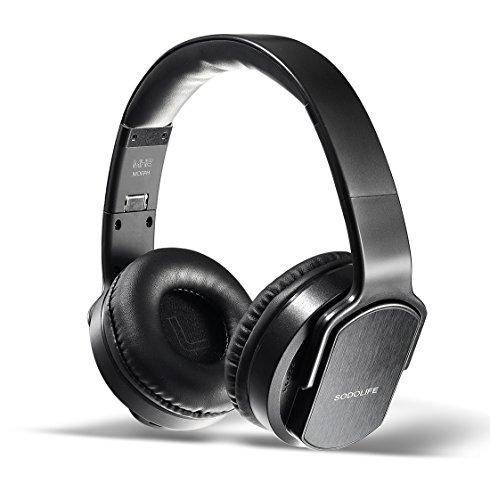 2 in 1 Kabellose Kopfhörer & Lautsprecher, Sodolife Bluetooth Kopfhörer Over Ear Headset Wirless Ohrpolster Base Hörer Kompatibel mit Geräuschunterdrückung SD Card Slot und Radio (Schwarz)