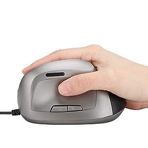 Vertikale ergonomische Mäuse, 6D Ergonomic Design 1200DPI Vertikale USB-Maus mit Kabel für Windows 98/2000/ME/XP/Vista/Win7/8/10 MACOS(Schwarz)