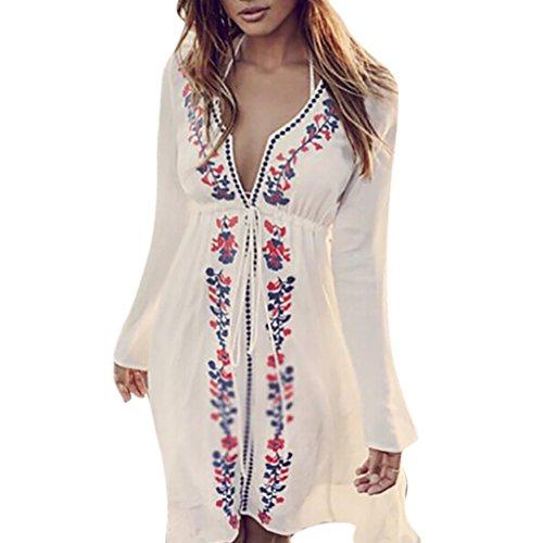 VJGOAL Damen Kleid, Damen Mode Stickerei Vintage Boho Ankünfte Strand Vertuschen Bademode Damen Party Urlaub Kleid (Weiß, 42)