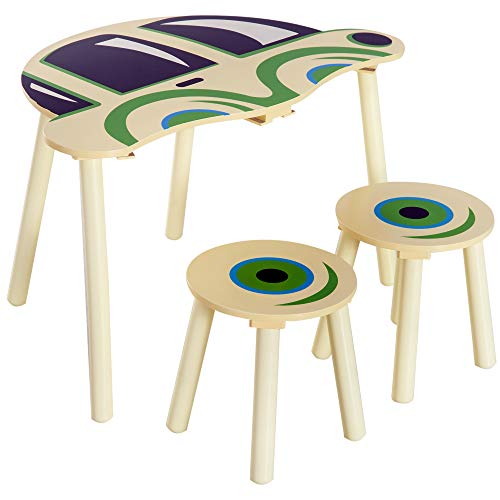 HOMCOM Kids Children 2 Stools 1 Table Set Wooden Furniture Car Shape Multi-colour Read Drawing Play Table