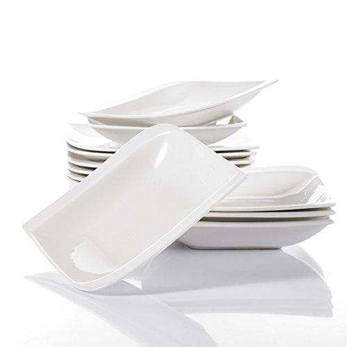 vancasso, série Gitana, Blanc Ivoire Porcelaine plaques de déjeuner Ensemble de Vaisselle avec 15,2 x 26,7 cm Assiettes à dîner/Servir platines et 15,2 x 20,3 cm Assiettes à Soupe/pâtes Bols